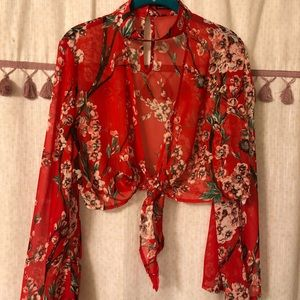 Red sheer floral blouse